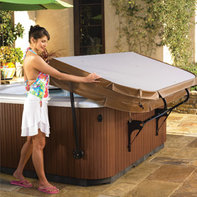 Woman Uncovering Hot Tub