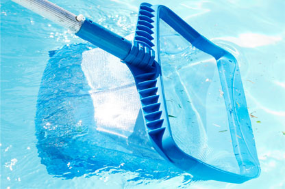 plastic blue skimmer net being dipped into a swimming pool