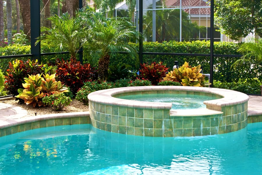 outdoor hot tub attached to a pool in a screened lanai surrounded by vibrant colored plants